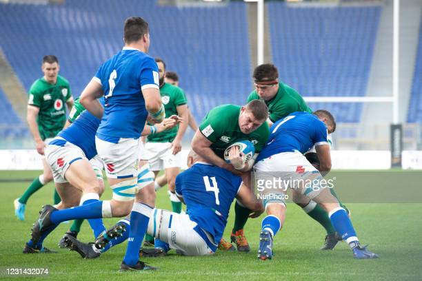 Number 3 of Ireland Tadhg Furlong in action during the 2021 Guinness Six Nations Rugby Championship match between Italy and Ireland at the Olimpic...