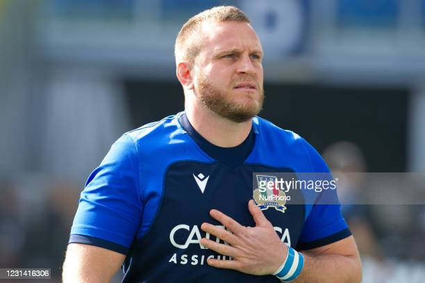 Number 3 of Italy Luca Bigi during warm up before the 2021 Guinness Six Nations Rugby Championship match between Italy and Ireland at the Olimpic...