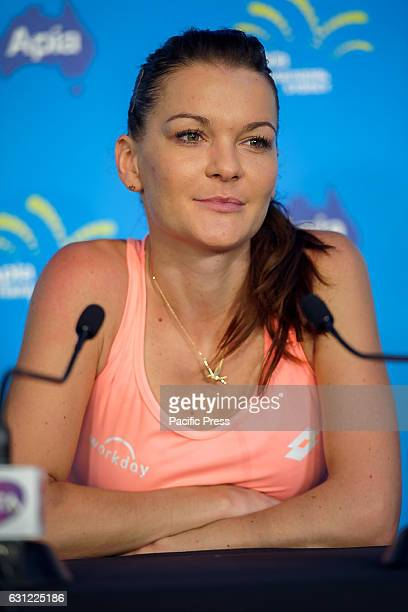 Number 3 ranked womens tennis player Agnieszka Radwanska speaks to the media during the first day of the Apia International Sydney played at the...
