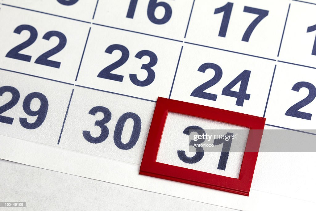 Number 31 bordered by red in calendar : Stock Photo