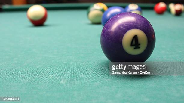 Number 4 Ball On Pool Table