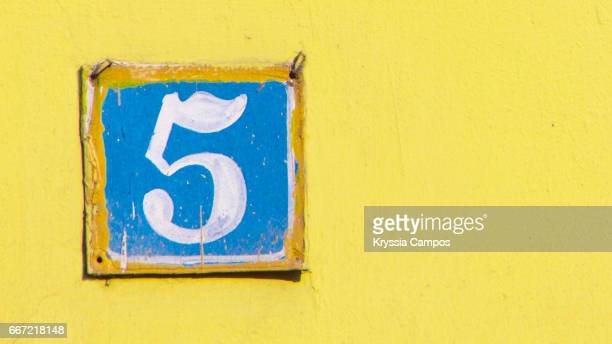 Number 5 at streets of Antigua, Guatemala