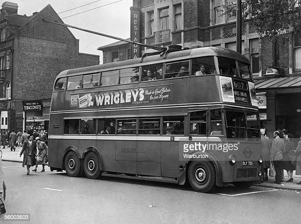 A number 607 London Transport Trolleybus en route to Hanwell in London 15th June 1948