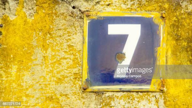 Number 7 at streets of Antigua, Guatemala