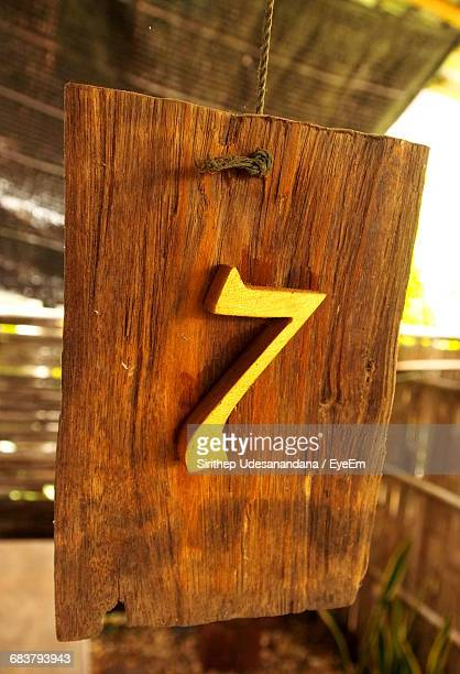 Number 7 On Wooden Plank