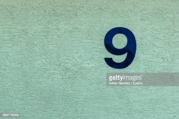 Number 9 Painted On Wall