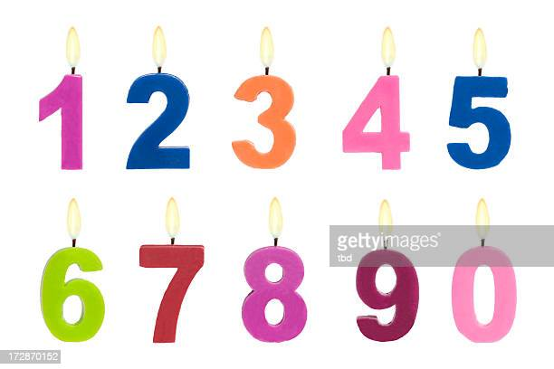 number candles - candle stock pictures, royalty-free photos & images