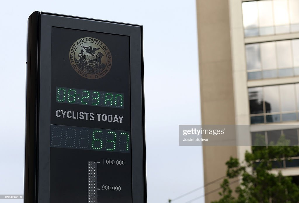 A number display is seen on an automated real-time bike counter on Market Street on May 9, 2013 in San Francisco, California. The San Francisco Municipal Transportation Agency has installed an automated real-time bike counter, also known as a bicycle barometer, on Market Street that will display daily and annual counts. According to the SFMTA, the number of cyclists on the streets of San Francisco has surged 71 percent between 2006 and 2011.