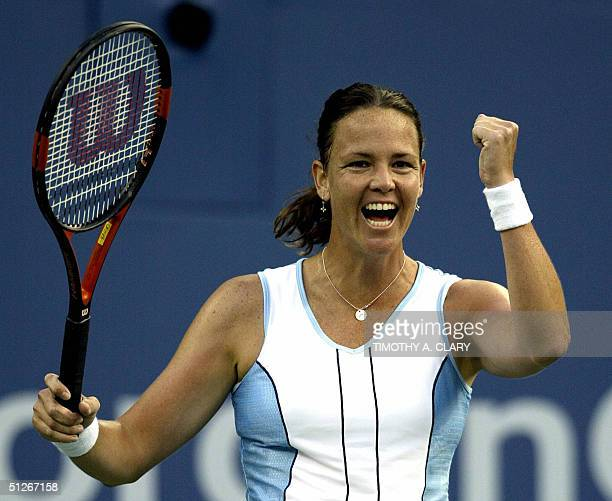Number five seed Lindsay Davenport of the US celebrates after beating Number 11 seed Venus Williams during their match at the 2004 US Open at Arthur...