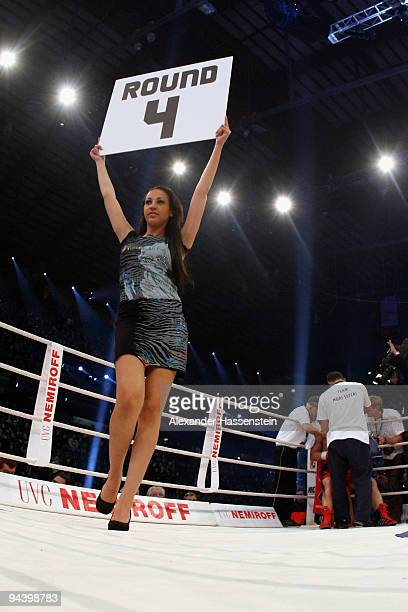 A number girl is pictured during the Cruiserweight fight between Joseph Marwa of Tanzania and Nuri Seferi of Switzerland at PostfinanceArena on...