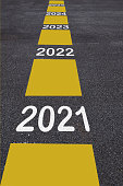 Number of 2021 to 2025 on asphalt road surface with marking lines