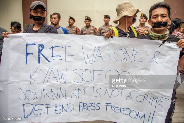 A number of Indonesian journalist which joined in the Alliance of Independent Journalist organization held a rally outside the Myanmar's embassy in...