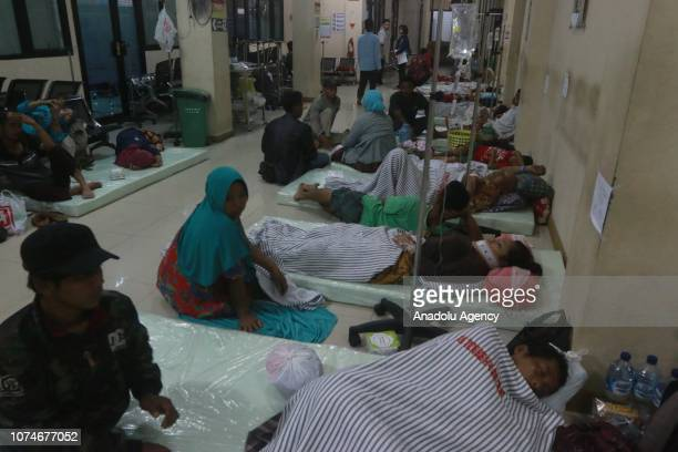 A number of residents injured by the tsunami that hit the Banten and Lampung regions are seen receiving treatment at Bob Hazar Hospital in Kalianda...