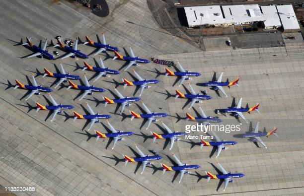 A number of Southwest Airlines Boeing 737 MAX aircraft are parked at Southern California Logistics Airport on March 27 2019 in Victorville California...