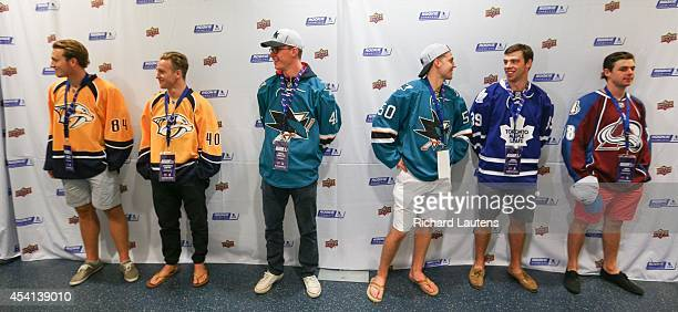 A number of the rookies line up waiting for media interviews 33 top NHL prospects/rookies were at the Mattamy Athletic Centre to have their photos...