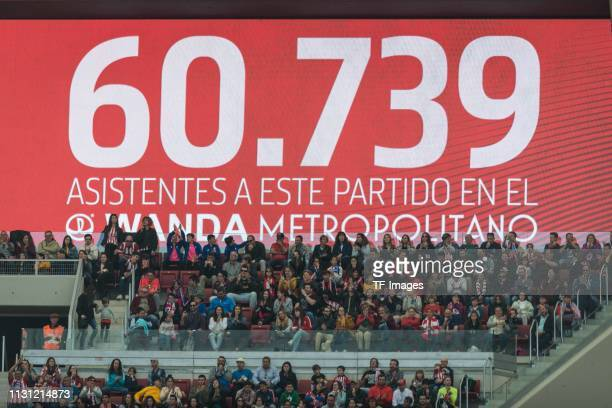 Number of visitors is seen on the score board during the Liga Iberdrola match between Atletico de Madrid and Barcelona at Wanda Metropolitano on...