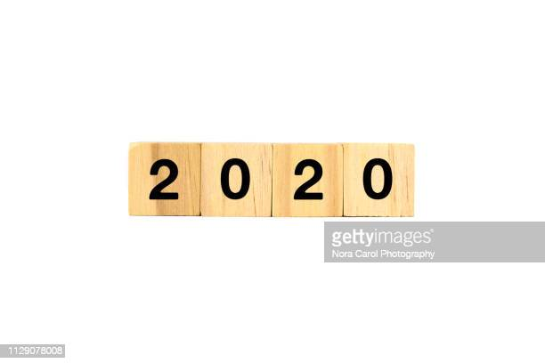2020 number on wood blocks - vision 2020 stock photos and pictures