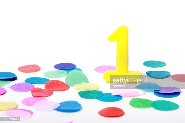 Number One 1 with Confetti