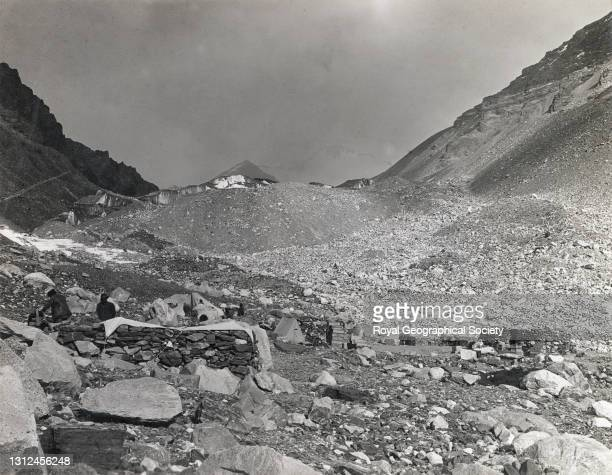 Number one camp looking east. By J.B. Noel. Mount Everest Expedition 1922.