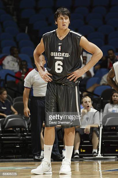 Number one draft pick Andrew Bogut of the Milwaukee Bucks stands on the court during the 2005 Minnesota Summer League on July 15 2005 at the Target...