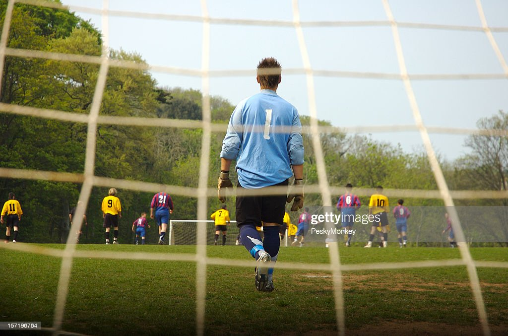 Number One Goalie Guards Soccer Football Goal : Stock Photo