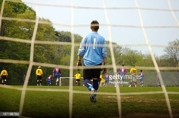 Number One Goalie Guards Soccer Football Goal