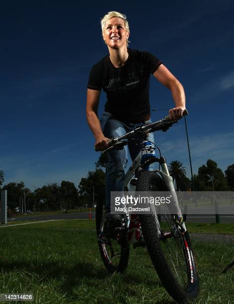 UCI number one ranked mountain bike rider Australian Katherine O'Shea poses during a photo shoot at the VIS on April 2 2012 in Melbourne Australia