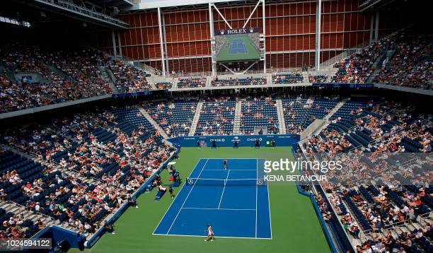 Number one seeded Simona Halep of Romania plays Kaia Kanepi of Estonia in the new Louis Armstrong stadium during their 2018 US Open women's match...