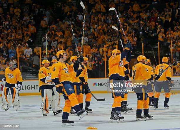 Number one star of the game Filip Forsberg of the Nashville Predators salutes the fans after a 52 Predators victory over the Colorado Avalanche in...