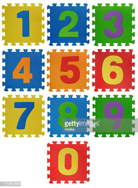 Number puzzles on white