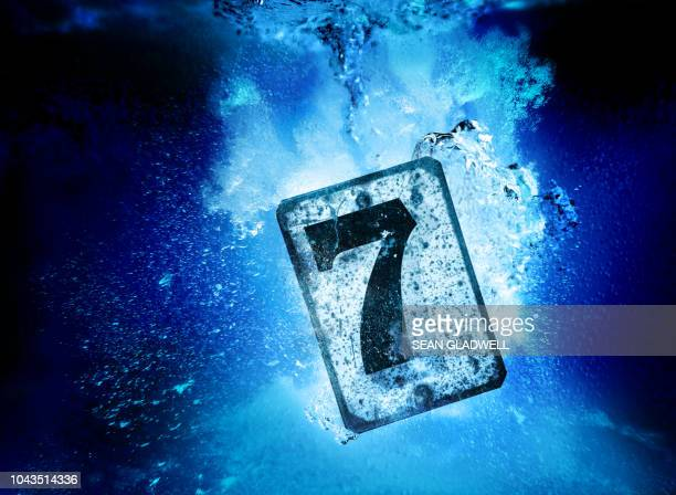 Number seven metal sign sinking