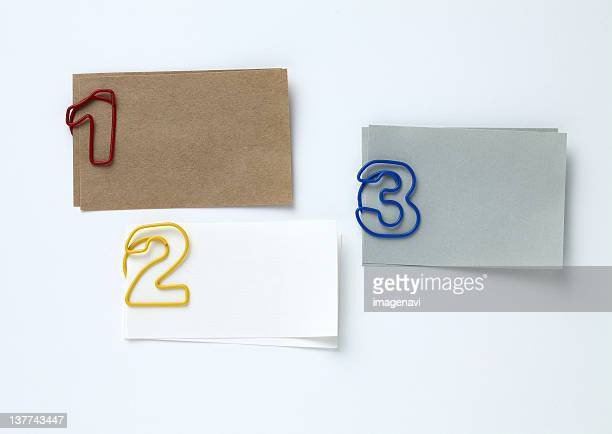 Number shaped clips and memo pads