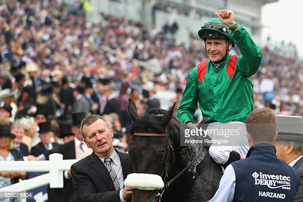 Number Six, Harzand celebrates winning the Investec Epsom Derby at Epsom Racecourse on June 4, 2016 in Epsom, England.