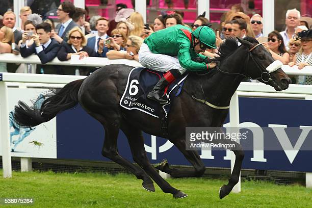 Number Six Harzand wins the Investec Epsom Derby at Epsom Racecourse on June 4 2016 in Epsom England