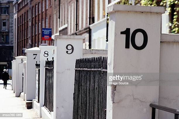 Numbered entrances to buildings