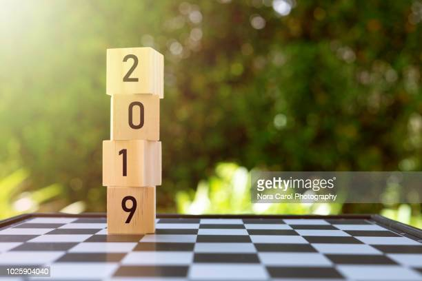 2019 numbers on wooden blocks - 2019 stock pictures, royalty-free photos & images