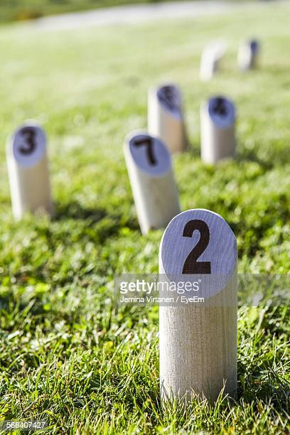 Numbers On Wooden Posts On Grassy Field