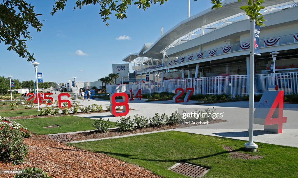 Numbers Park outside the entrance to JetBlue Park displays the numbers of the Boston Red Sox greats, shown prior to the spring training game against the Washington Nationals on March 30, 2017 in Fort Myers, Florida.