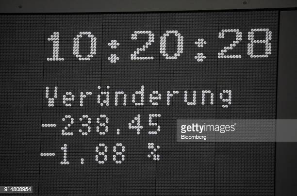 Numbers showing the negative change of the German DAX share price sit on a display screen inside the Frankfurt Stock Exchange operated by Deutsche...