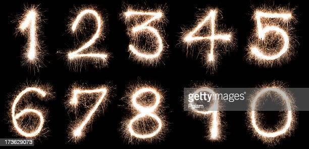 Numbers written with a sparkler
