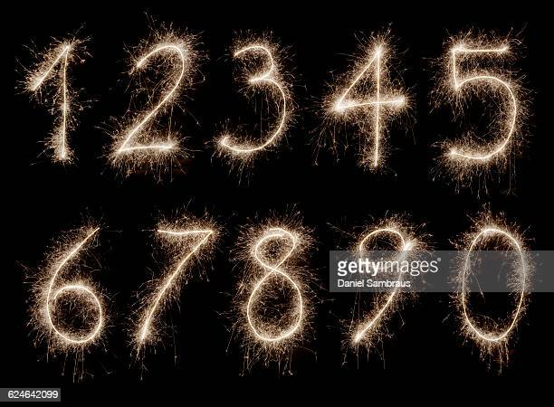 Numbers written with sparklers