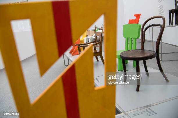 Numerous children's chairs can be seen at the exhibition only chairs Children's chairs from Sammlung Neuwald hosted by the Pinakothek der Moderne in...