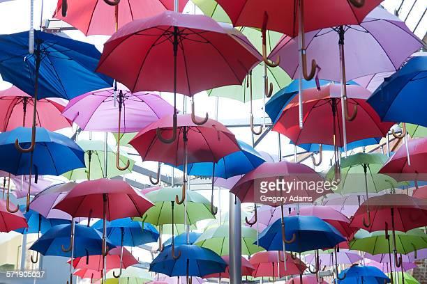 numerous colorful umbrellas overhead - ロイヤルブルー ストックフォトと画像