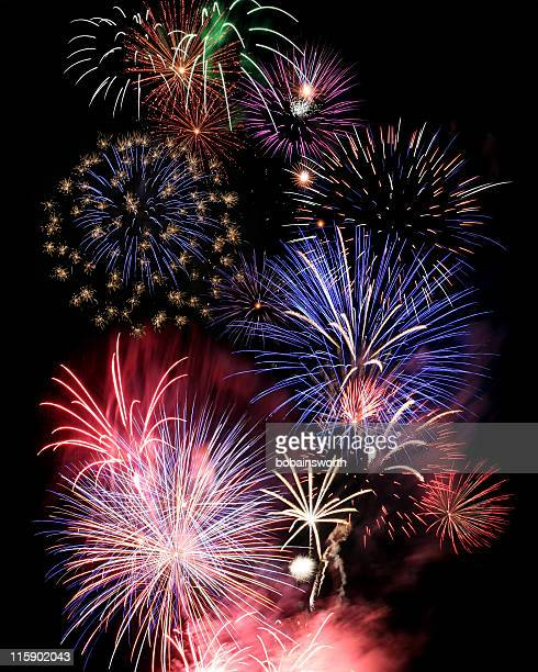 numerous large and colorful fireworks - july stock pictures, royalty-free photos & images