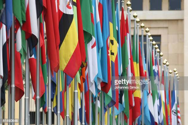 Numerous national flags are seen in front of the United Nations Office on June 8 2008 in Geneva Switzerland Housed at the Palais des Nations the...