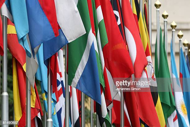 Numerous national flags are seen in front of the United Nations Office on June 8, 2008 in Geneva, Switzerland. Housed at the Palais des Nations, the...