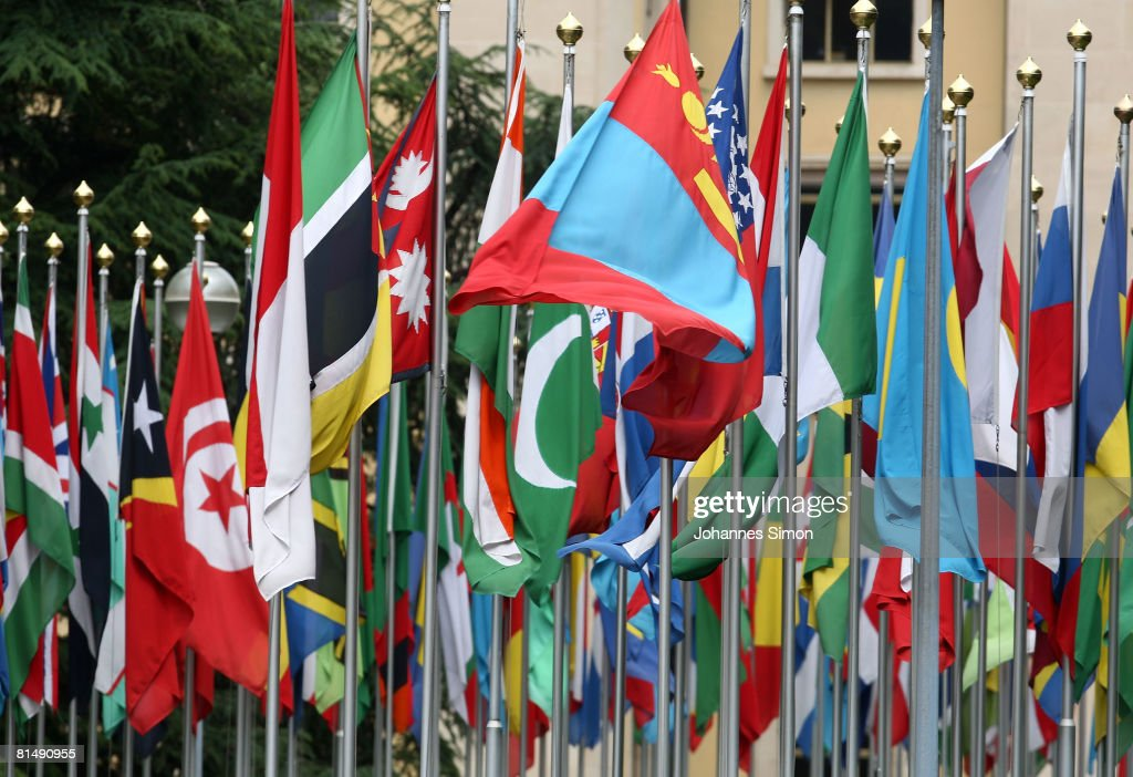 Numerous national flags are seen in front of the United Nations Office (UNOG) on June 8, 2008 in Geneva, Switzerland. Housed at the Palais des Nations, the United Nations Office at Geneva serves as the representative office of the Secretary-General at Geneva. A focal point for multilateral diplomacy, UNOG services more than 8,000 meetings every year, making it one of the busiest conference centres in the world. With more than 1,600 staff, it is the biggest duty station outside of United Nations headquarters in New York.