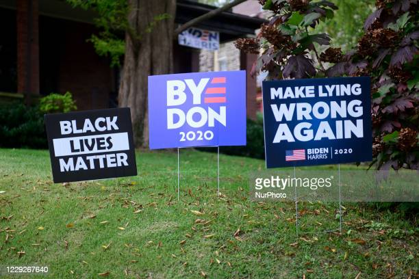 Numerous signs in support of the BidenHarris ticket are found in the liberal Mt Airy neighborhood in Northwest Philadelphia PA on October 24 2020
