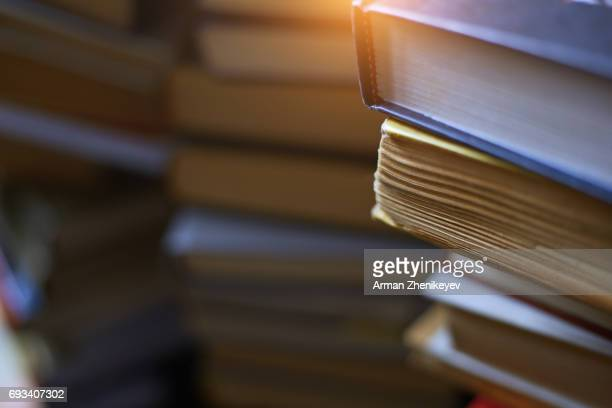 Numerous stacks of books