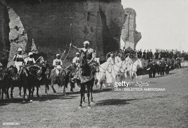 Numidian horsemen at the feast of Palilia on the Palatine Hill Rome Italy photo by Dante Paolocci from L'illustrazione Italiana Year XXIX No 19 May...